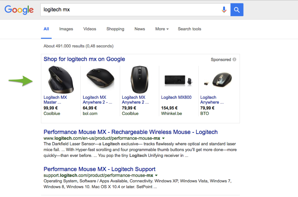 Google search results screen shot