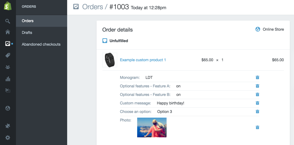 Shopify custom product - order admin