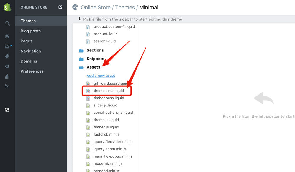 How to edit CSS in Shopify - Open the stylesheet file