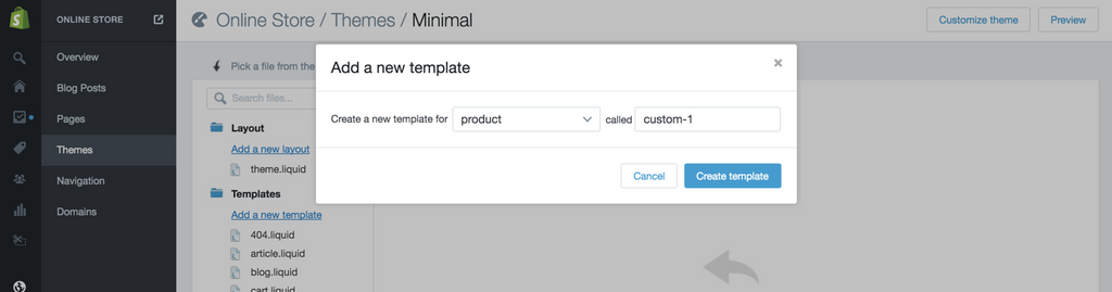 Create a new product template