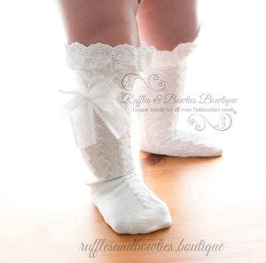 Baby Girls Boot Socks - CREAM Boot Socks, Toddler Boot Socks, Toddler Socks, Child Boot Socks, Lace Boot Sock, Knee High - Ruffles & Bowties Bowtique - 1