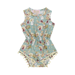 Kryssi Kouture Exclusive Forest Friends Pom Romper