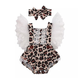 Girls Lace Leopard Romper
