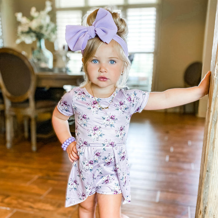 Light Purple Spring Skirted Romper