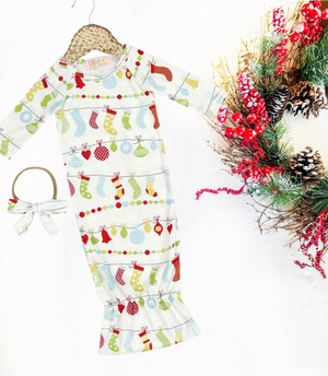2 Pc Baby Holiday Stockings Sleep Gown with Headband