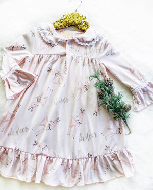 Oh Deer Vintage Christmas Long Sleeved Night Gown