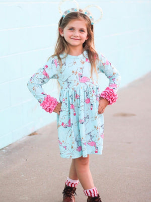 Skating Flamingos Long Ruffles Sleeve Tunic/Dress