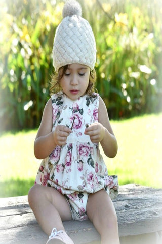 Cream Rose Knitted Pom Hat