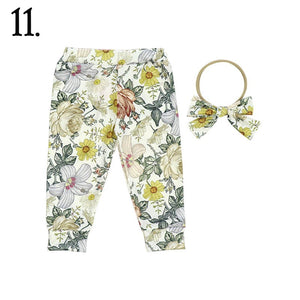 2 Pc Floral Melody Baby Cuffed Jogger & Headband