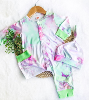 2 Pc Baby Pink & Lime Jumpsuit plus Hat Tie Dye Set