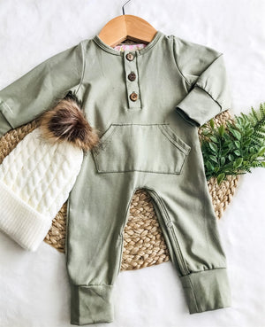 Army Green Unisex Pocket Romper