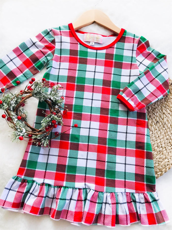 Red & Green Plaid Christmas Night Gown