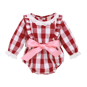 Baby Red Check Romper with Pink Ribbon