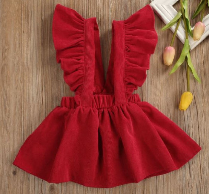 Red Cord Suspender Jumper Dress