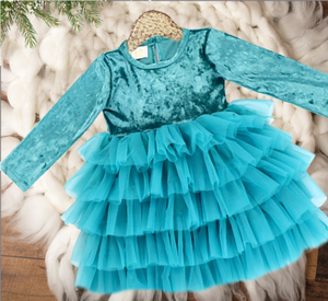Girls Teal Ruffle Bottom Holiday Velvet Tutu Dress