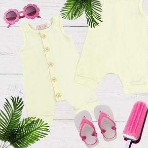 Yellow Girls & Boys Solid Romper
