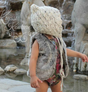 Pre-Order US ONLY - Baby Girl Boho Faux Fur Fall Vests -The Faux Fur Vest - Baby Vest - Kids Vest - shower gift - birthday present-Baby Clothing -modern faux fur -shrug - vest - Ruffles & Bowties Bowtique - 2