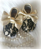 Baby Girl Lace leather Moccaisns - Gold with Black Lace Big Bow Leather Baby Moccasins - Baby Girl Moccasins - Bow Moccasins - Gold Bow Moccasins  - Soft Shoes - Lace Moccasins - Ruffles & Bowties Bowtique - 2