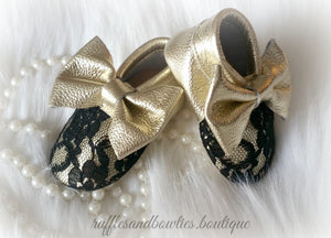Baby Girl Lace leather Moccaisns - Gold with Black Lace Big Bow Leather Baby Moccasins - Baby Girl Moccasins - Bow Moccasins - Gold Bow Moccasins  - Soft Shoes - Lace Moccasins - Ruffles & Bowties Bowtique - 3