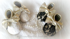 Baby Girl Lace leather Moccaisns - Gold with Black Lace Big Bow Leather Baby Moccasins - Baby Girl Moccasins - Bow Moccasins - Gold Bow Moccasins  - Soft Shoes - Lace Moccasins - Ruffles & Bowties Bowtique - 4
