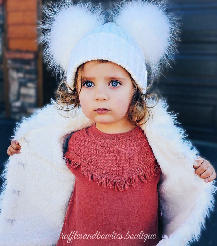 ****CUSTOMER FAVORITE***** PRE ORDER - Cream Double Pom Fur Knitted Beanie Hat - Baby Beanie Fur Pom Hat -  -Fall Hat - Winter Hat - Baby Hat - Real Fur Pom Hat