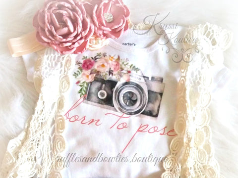 Born To Pose Vintage Camera Floral Baby Girl Shirt