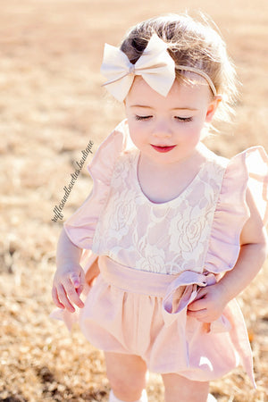 Baby Girls Elizabeth Dusty Pink Lace Ruffled Cap Sleeve Baby Romper/Jumper