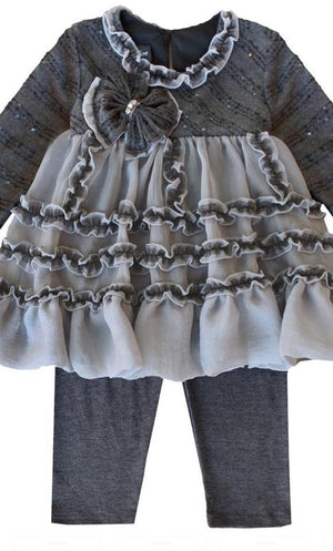 Designer Isobella & Clohe Holiday 2 Piece Grey Outfit - Ruffles & Bowties Bowtique - 4