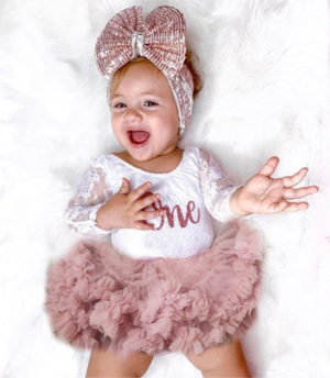Kryssi Kouture Exclusive First Birthday White Lace Leo  Set with Rose Gold One - Complete Outfits Available