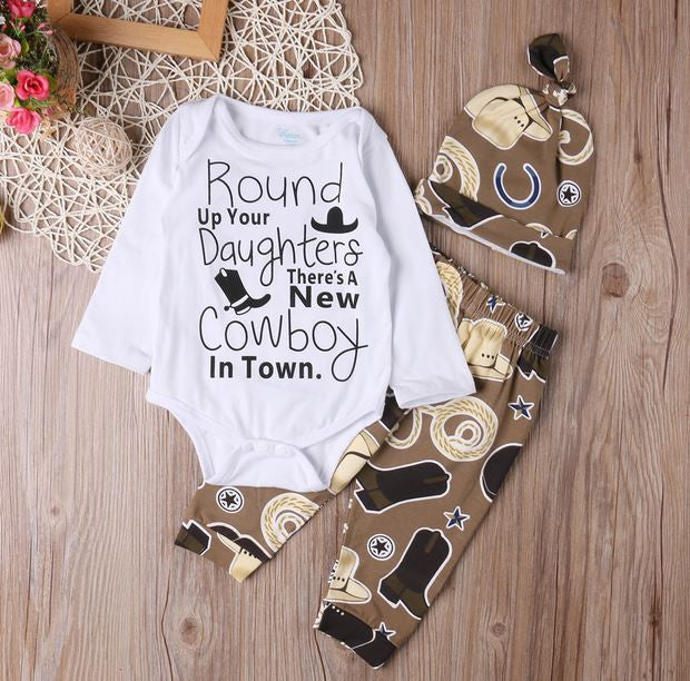 325c3eabb2a58 Baby Boy New Cowboy In Town 3 Pc Western Set - Shower Gift - Coming home  outfit - Baby Hat