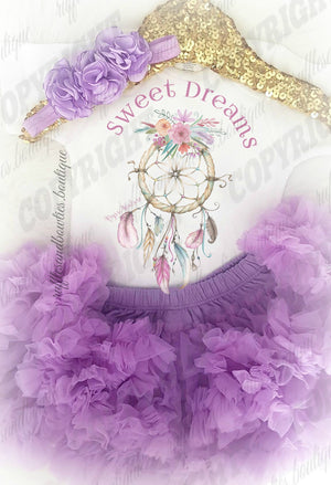 Baby Girls Bohemian Sweet Dreams dream Catcher Purple and Pink Rainbow Onesie/Shirt