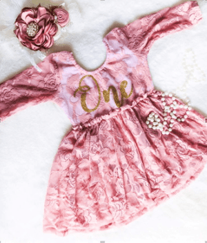 **NEW** Kryssi Kouture First Birthday Dusty Rose Skirted Romper with Rose Gold One