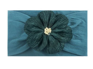 Girls Fall Teal Nylon Floral Headband/ Wrap