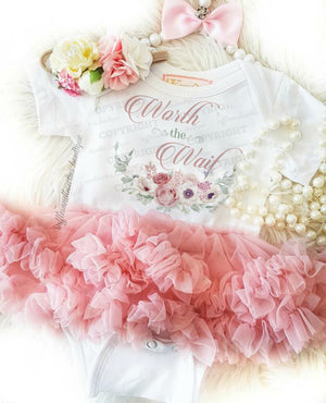 Newborn Worth The Wait Dusty Pink Tutu Dress 2 Pc Set