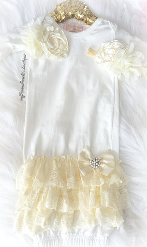 Alice Cream and White Lace Ruffle Sleep Sack