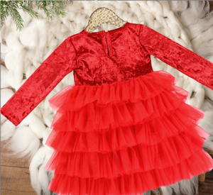 Girls Christmas Red Ruffle Bottom Holiday Velvet Tutu Dress