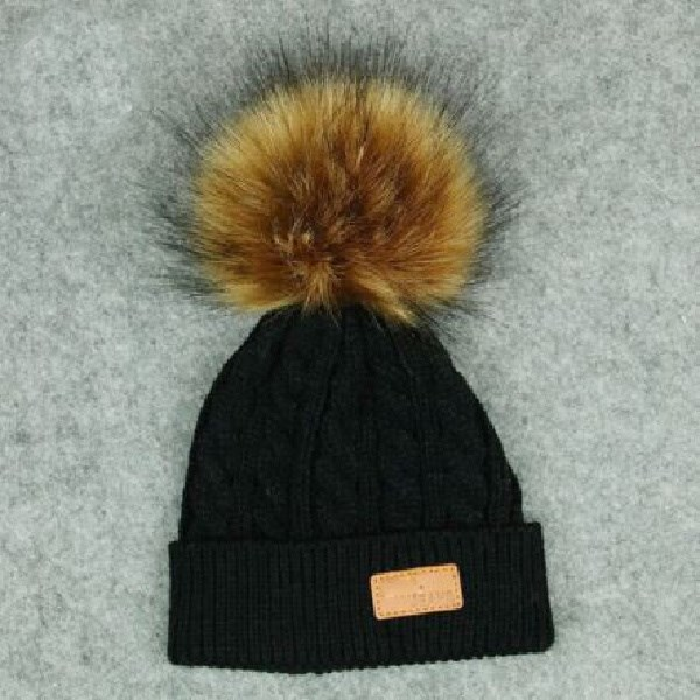 Kids Black Cable Single Pom Faux Fur Pom Hat