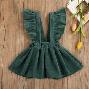 Christmas Green Cord Suspender Jumper Dress