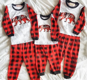 Bear Family PJS - Mama Bear, Papa Bear, Baby Bear, Sister Bear & Brother Bear ruffles-bowties-bowtique