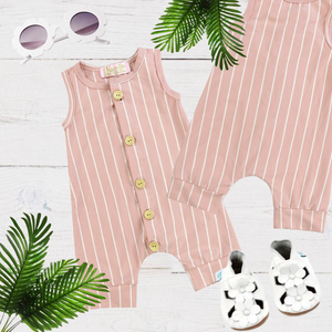Green Girls & Boys Stripe Romper