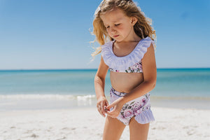 Girls Bathing Suits - Izmal Dusty Rose Floral