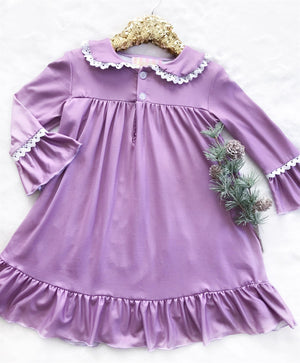 Purple Vintage Christmas Long Sleeved Night Gown