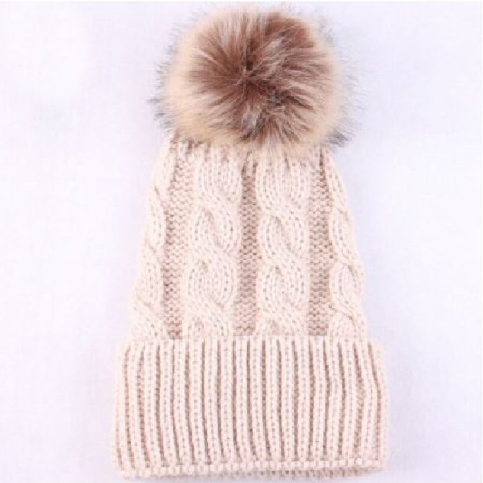 Kids Tan Cable Brown Pom Faux Fur Pom Hat - 16