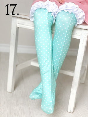 Aqua Polka-Dot Ruffled Knee Highs
