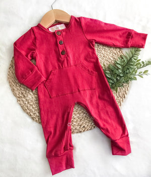 Crimson Unisex Pocket Romper