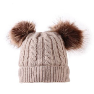 Kids Tan Cable Double Brown Pom Faux Fur Pom Hat - 17