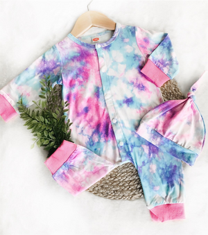 2 Pc Baby Pink & Blue Jumpsuit plus Hat Tie Dye Set