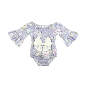 Kryssi Kouture Girls Violet Spring Bloom Floral Bow Romper