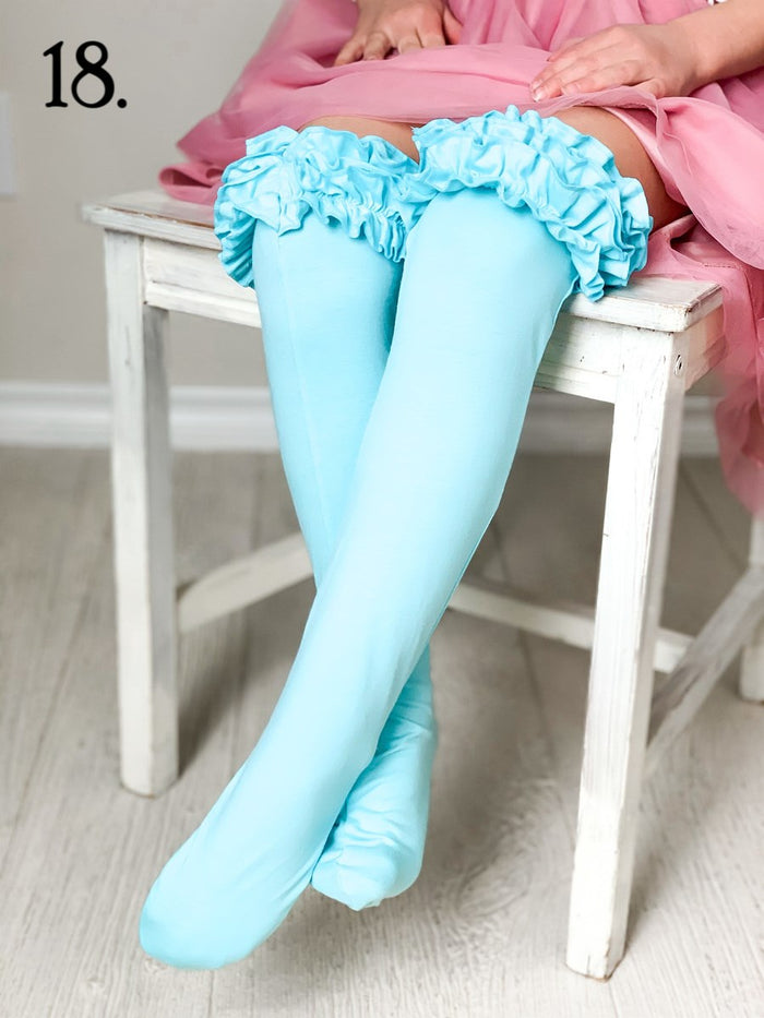 Turquoise Ruffled Knee Highs