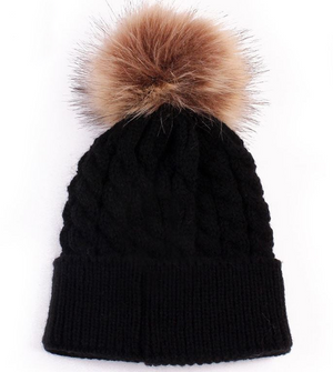 Kids Black Cable Brown Pom Faux Fur Pom Hat - 18